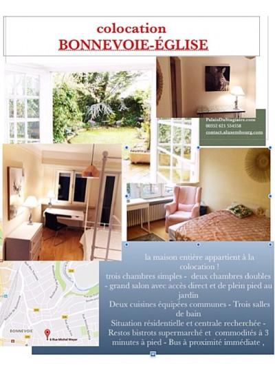 W0  Grand chambre meublée house-share Bonnevoie Église rue Weyer